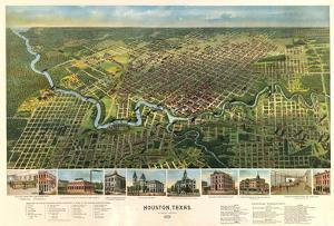 Houston, Texas - Panoramic Map