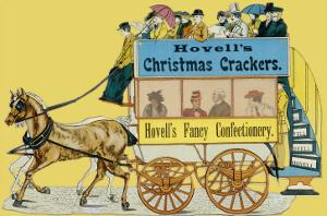 Hovell's Christmas Cracker Advertisement on the Side of a Horse Bus