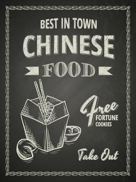 Chinese Food Poster on Black Chalkboard by hoverfly