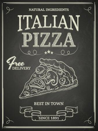 Italian Pizza Poster on Black Chalkboard by hoverfly