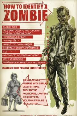 How To Identify a Zombie by Retro-A-Go-Go Poster