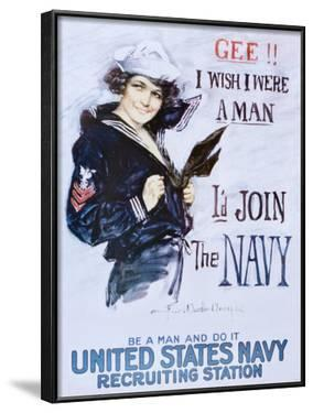 Gee!! I Wish I Were a Man - I'd Join the Navy Recruitment Poster by Howard Chandler Christy
