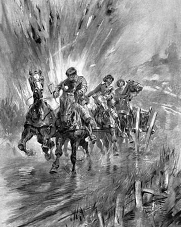 Horses Running the Gauntlet of the Guns, 1917