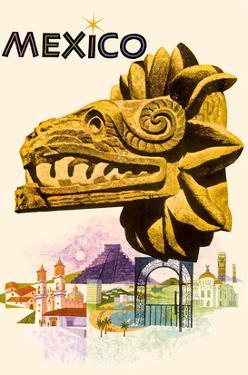 Mexico - Kukulkan, Feathered Serpent - Mayan Snake Diety by Howard Koslow