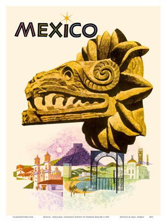 Mexico - Kukulkan, Feathered Serpent - Mayan Snake Diety by Howard Koslow