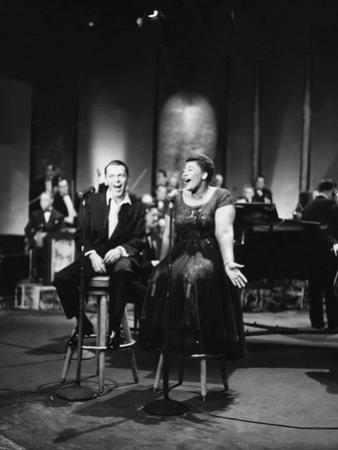 Ella Fitzgerald and Frank Sinatra - 1958 by Howard Morehead