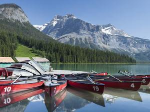 Boat Dock and Canoes for Rent on Emerald Lake, Yoho National Park,British Columbia by Howard Newcomb