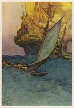 Pirates Attacking a Spanish Galleon in the West Indies by Howard Pyle