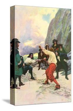Theirs Was A Spirited Encounter Upon The Beach of Teviot Bay by Howard Pyle