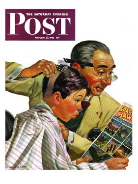 """Comical Haircut,"" Saturday Evening Post Cover, February 27, 1943 by Howard Scott"