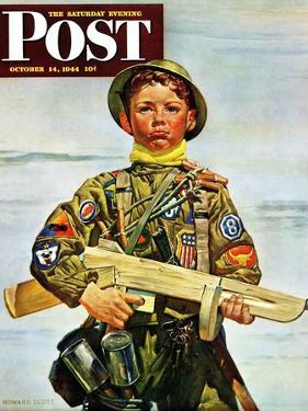 """Commando Kid,"" Saturday Evening Post Cover, October 14, 1944 by Howard Scott"
