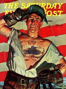 """Tank Tattoo,"" Saturday Evening Post Cover, November 8, 1941 by Howard Scott"