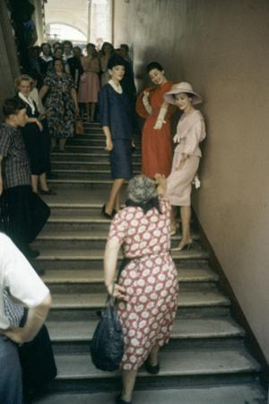Dior Models in Stairwell for an Officially-Sanctioned Fashion Show, Moscow, Russia, 1959