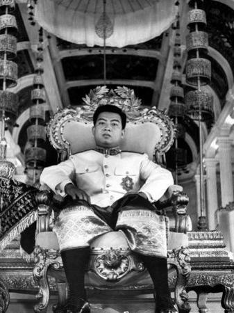 "King Norodom Sihanouk of Cambodia Sitting in His Throne Wearing ""Sampots"", Sarong Style Pants"