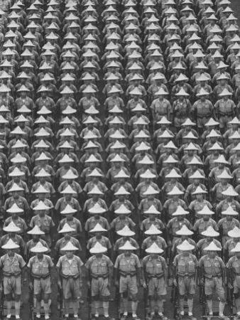 "Nationalist Chinese ""Boy Battalion"" Soldiers, En Masse, in Line Formation, During Army Day Parade"