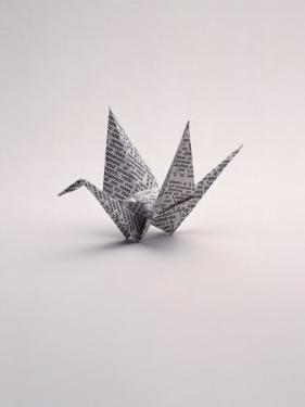 Origami Crane on White by Howard Sokol