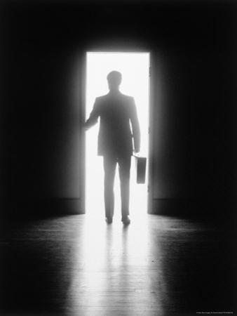 Silhouette of Businessman in Doorway