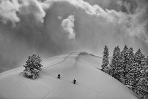 Backcountry Ski Climbers in Fresh Powder, Near Salt Lake City, Utah by Howie Garber