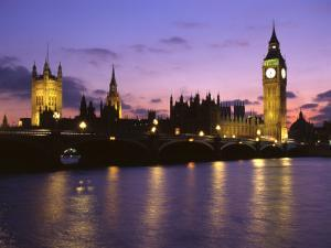 Big Ben, Houses of Parliament and the River Thames at Dusk, London, England by Howie Garber