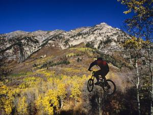 Mountain Biking in Fall, Uinta National Forest, Provo, Utah by Howie Garber