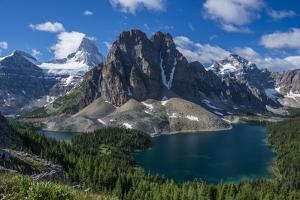 Mt. Assiniboine, Mount Magog and Sunburst Peak as Seen from the Nublet by Howie Garber