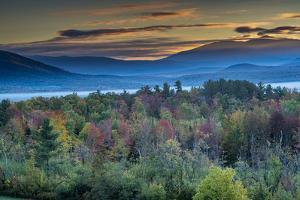 Painterly fall landscape with fog and fall foliage, Sugar Hill, White Mountains, New Hampshire by Howie Garber