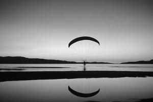 Powered Paraglider over the Great Salt Lake. Utah by Howie Garber