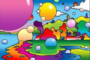 Bubbles Landscape by Howie Green