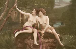 Two Beautiful Nude Women - Classic Vintage Hand-Colored Erotic Art by HSB Studio