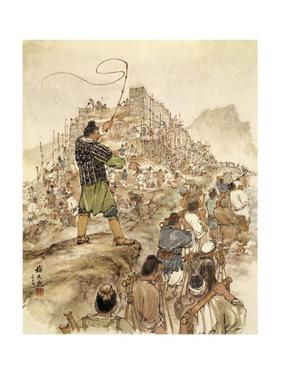 Painting of Slaves Building the Great Wall of China by Hsien-Min Yang