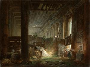 A Hermit Praying in the Ruins of a Roman Temple. c.1760 by Hubert Robert