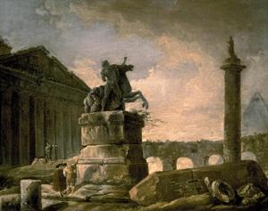 Architectural Landscape with Obelisk by Hubert Robert