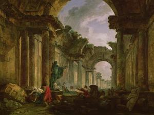 Imaginary View of the Grand Gallery of the Louvre in Ruins, 1796 by Hubert Robert