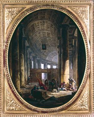 'Interior of the colonnade of St Peter's, Rome, at the time of the Conclave of 1769' by Hubert Robert