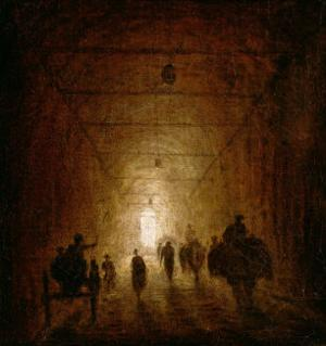 Riders and Pedestrians Passing Through an Arched Passage by Hubert Robert