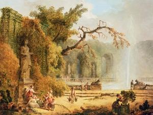 Romantic Garden Scene by Hubert Robert