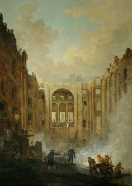The fire at the operahouse in the Palais Royal,1781 by Hubert Robert