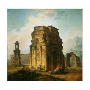 The ruins of the Roman triumphal arch and the theatre at Orange, France. 1787. by Hubert Robert