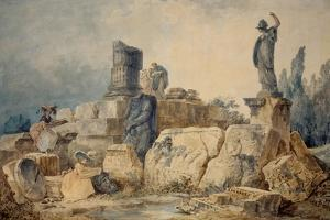 Two young women drawing the ruins of Rome,three figures in antique clothing observe them from above by Hubert Robert