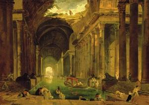 Vue Imaginaire de la Grande Galerie en Ruins by Hubert Robert