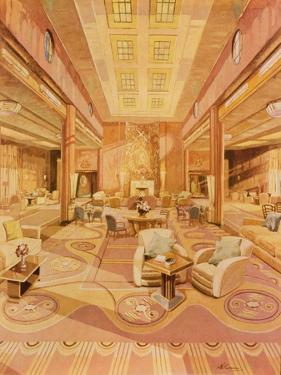 Interior of the First Class Lounge on R.M.S. 'Queen Mary' by Hugh McKenna