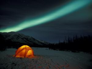 Camper's Tent Under Curtains of Green Northern Lights, Brooks Range, Alaska, USA by Hugh Rose