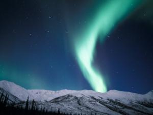 Curtains of Green Northern Lights Above the Brooks Range, Alaska, USA by Hugh Rose