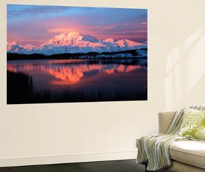 Lake with Mt McKinley, Denali National Park and Preserve, Alaska, USA by Hugh Rose
