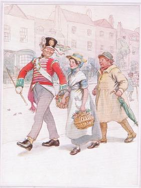A Soldier with a Girl Passes-Yokel Follows Angrily by Hugh Thomson