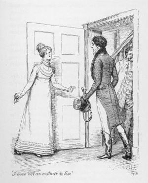 """I Have Not an Instant to Lose"" Says Elizabeth Bennet to Mr. Darcy by Hugh Thomson"