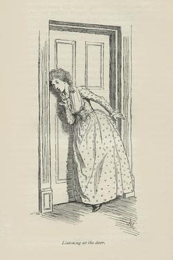 Listening at the door, 1896 by Hugh Thomson