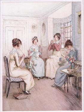 Miss Fanny Is Reading Aloud from the Library Book While Others Sew or Knit by Hugh Thomson