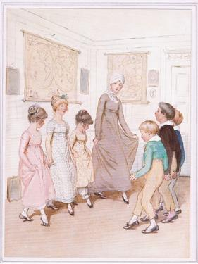Miss Phoebe Is Giving a Dancing Lesson to Half a Dozen Pupils, and Is Doing Her Very Best by Hugh Thomson