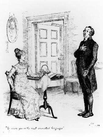 """Mr. Collins and Elizabeth, from """"Pride and Prejudice"""" by Jane Austen circa 1894"""